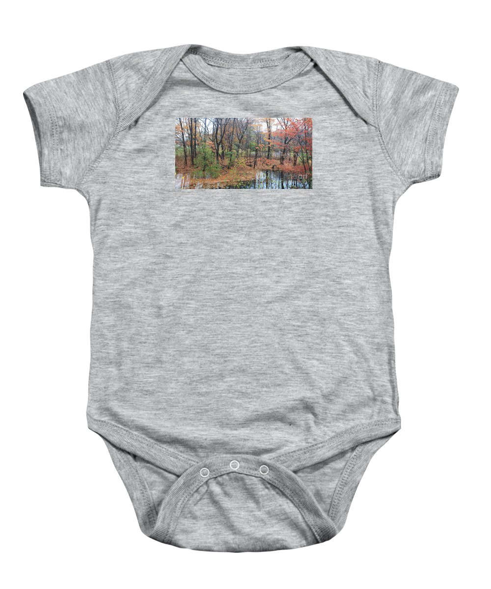 Waltham Baby Onesie featuring the painting November Rainy Day In Waltham by Rita Brown
