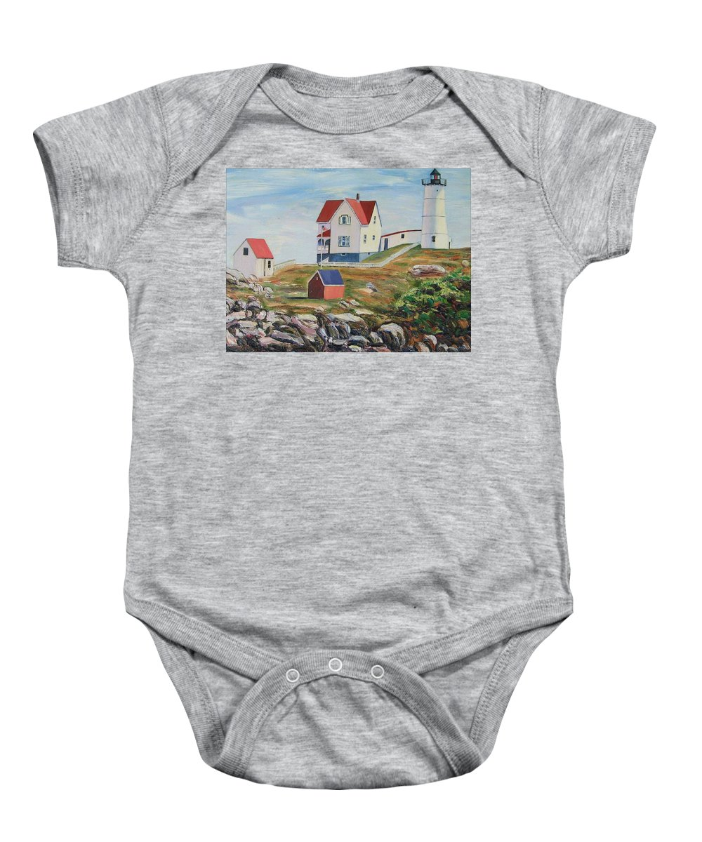 Nubble Light House Baby Onesie featuring the painting Nubble Light House Maine by Richard Nowak