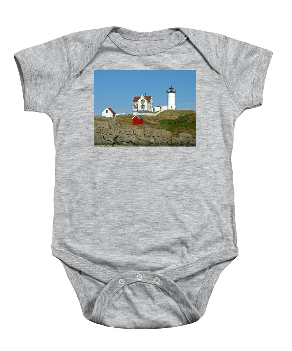 Nubble Baby Onesie featuring the photograph Nubble Light by Margie Wildblood