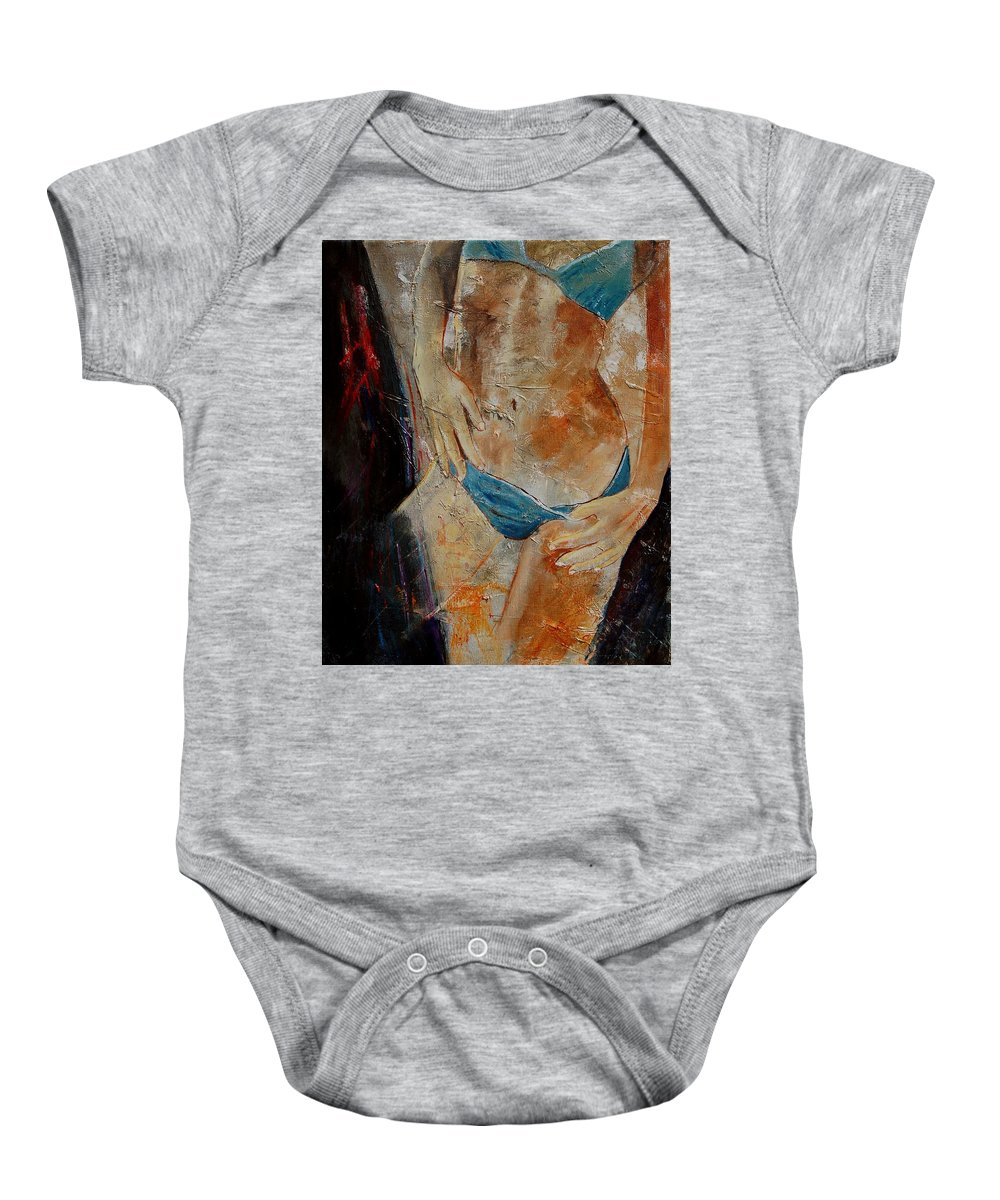Girl Nude Baby Onesie featuring the painting Nude 450608 by Pol Ledent