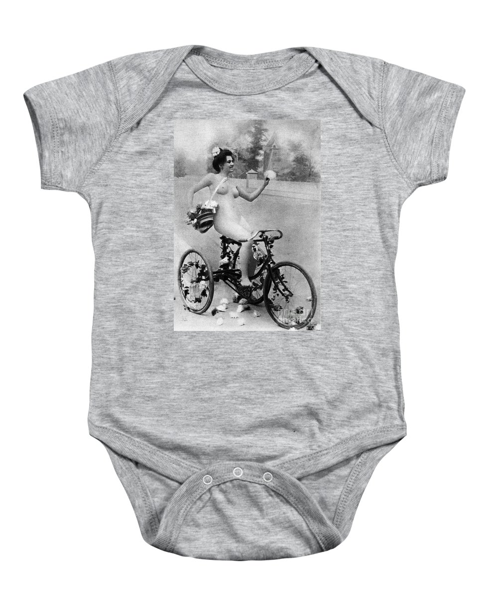 1900 Baby Onesie featuring the photograph Nude And Bicycle, C1900 by Granger