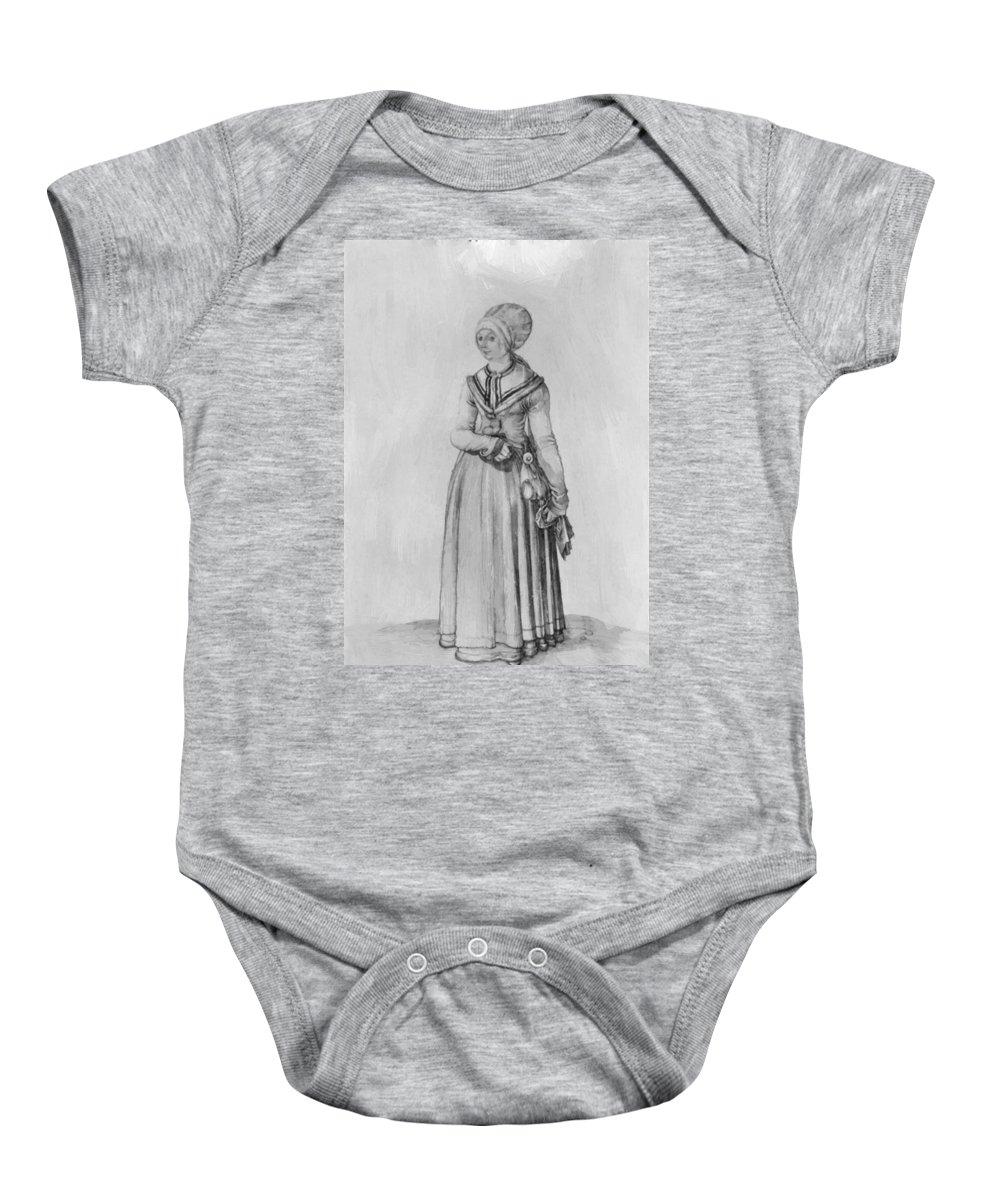 Nuremberg Baby Onesie featuring the painting Nuremberg Woman In House Dress by Durer Albrecht