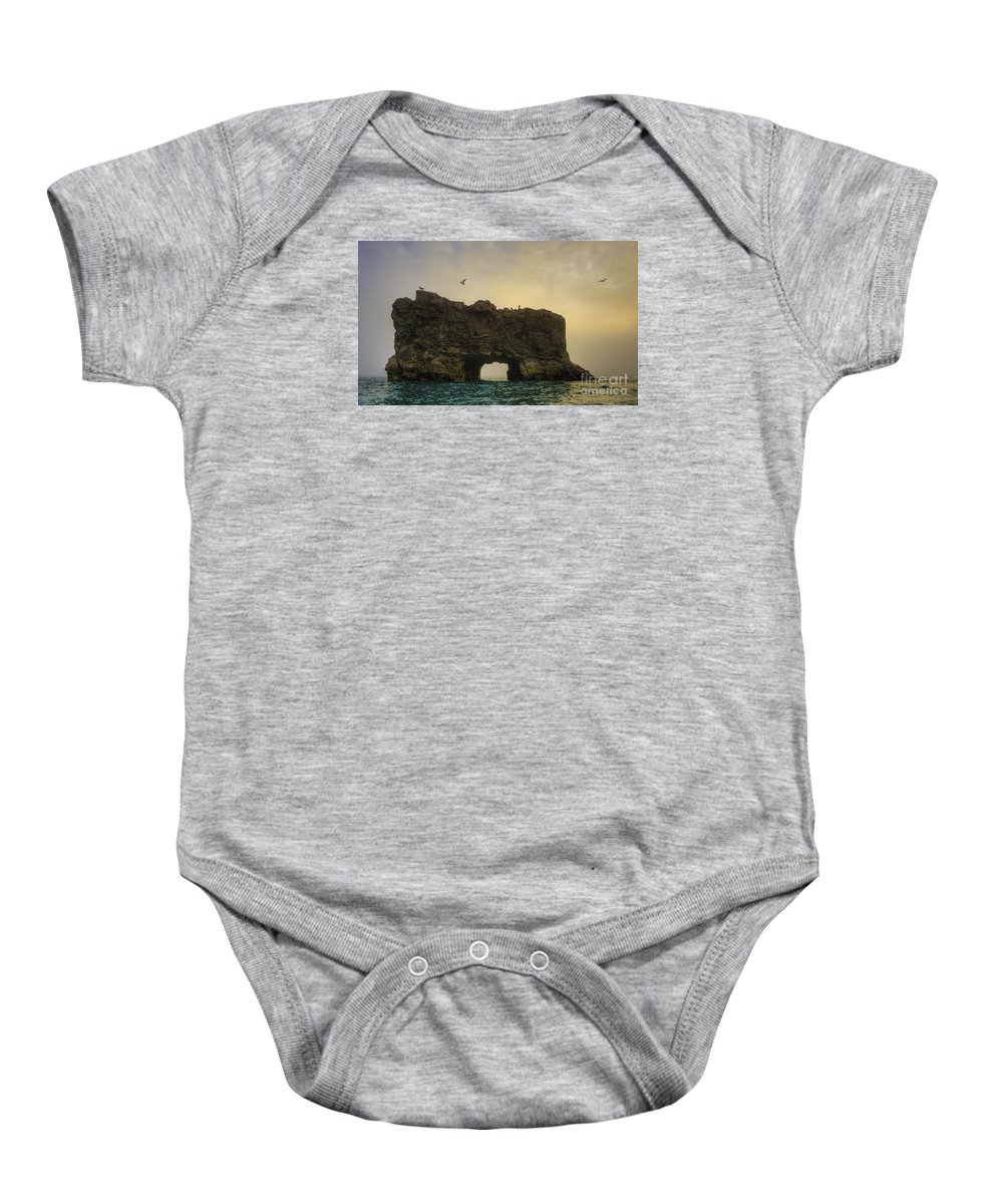 Glaucous Gull Baby Onesie featuring the photograph O Mighty Rock... by Nina Stavlund