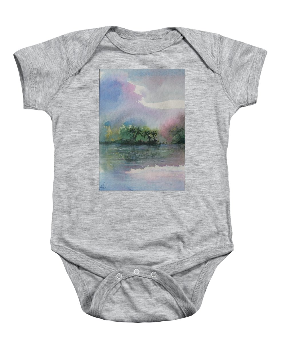 Tropical Island Baby Onesie featuring the painting Ocean Pearls by Melody Horton Karandjeff