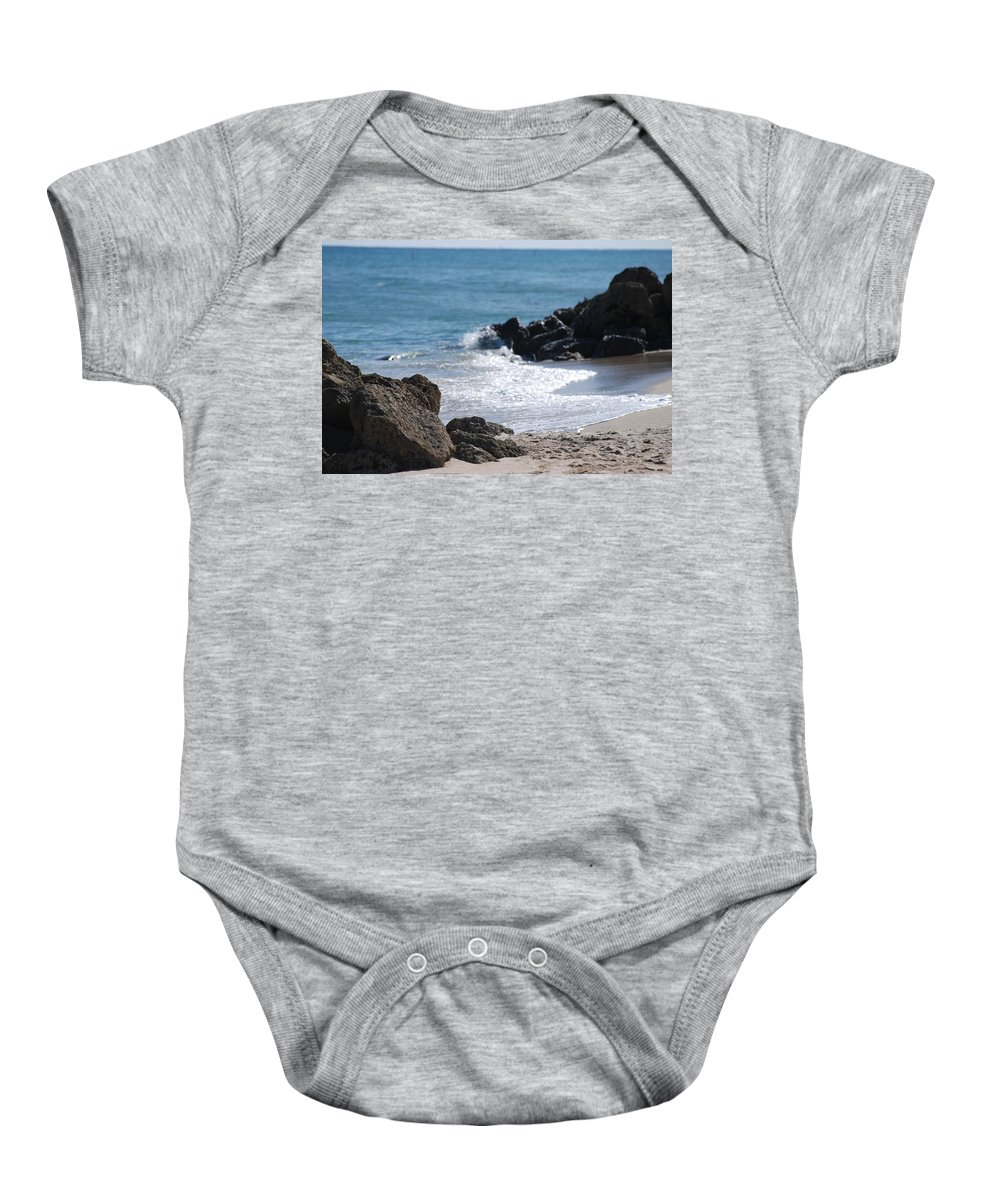 Sea Scape Baby Onesie featuring the photograph Ocean Rocks by Rob Hans