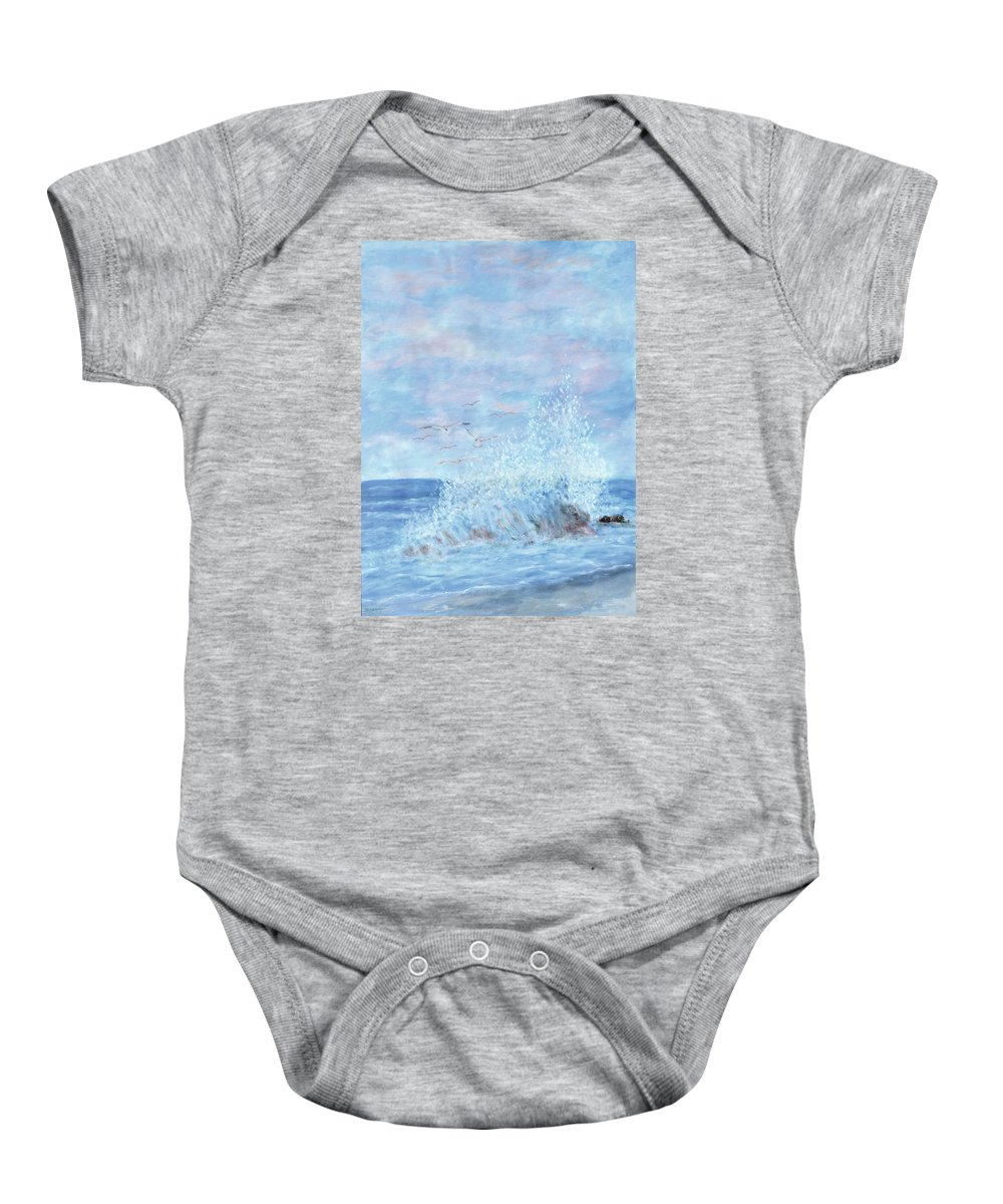 Gulls Baby Onesie featuring the painting Ocean Spray by Ben Kiger
