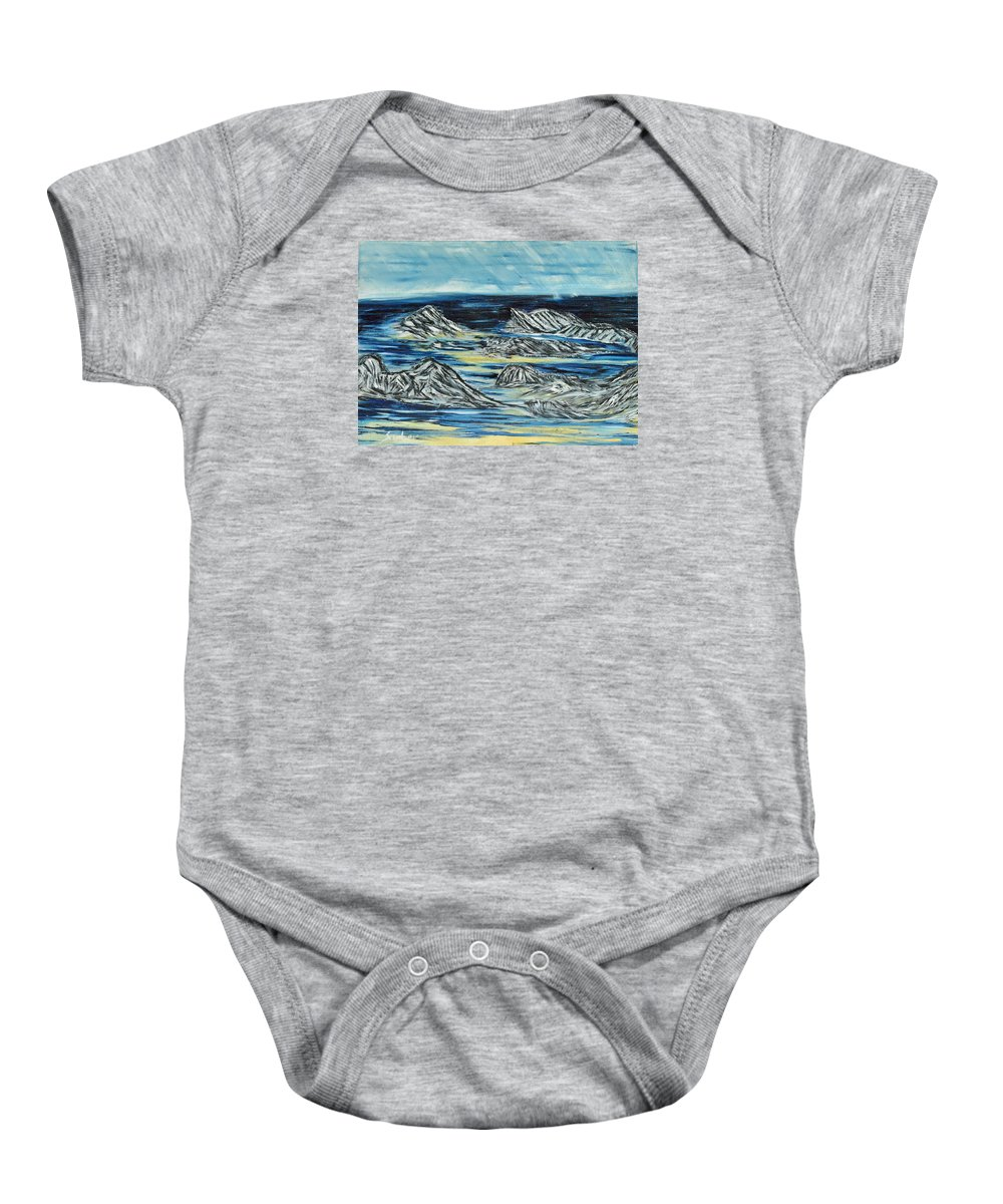 Landscape Baby Onesie featuring the painting Oceans Of Worlds by Suzanne Surber