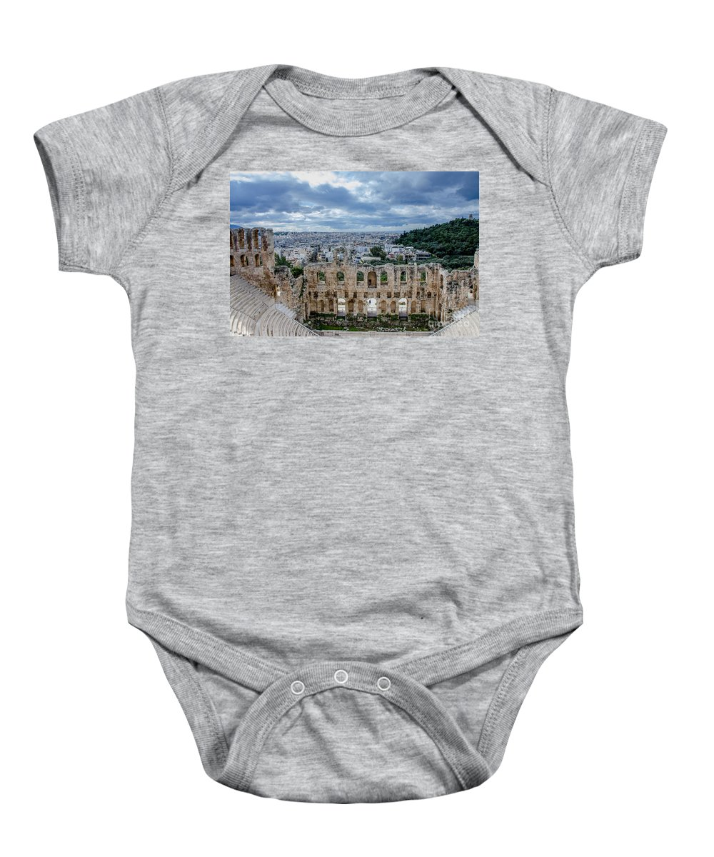 Odeon Of Herodes Atticus - Athens Greece Baby Onesie featuring the photograph Odeon Of Herodes Atticus - Athens Greece by Debra Martz