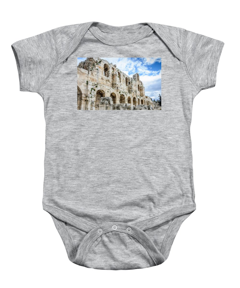 Odeon Stone Wall - Athens Greece Baby Onesie featuring the photograph Odeon Stone Wall - Athens Greece by Debra Martz