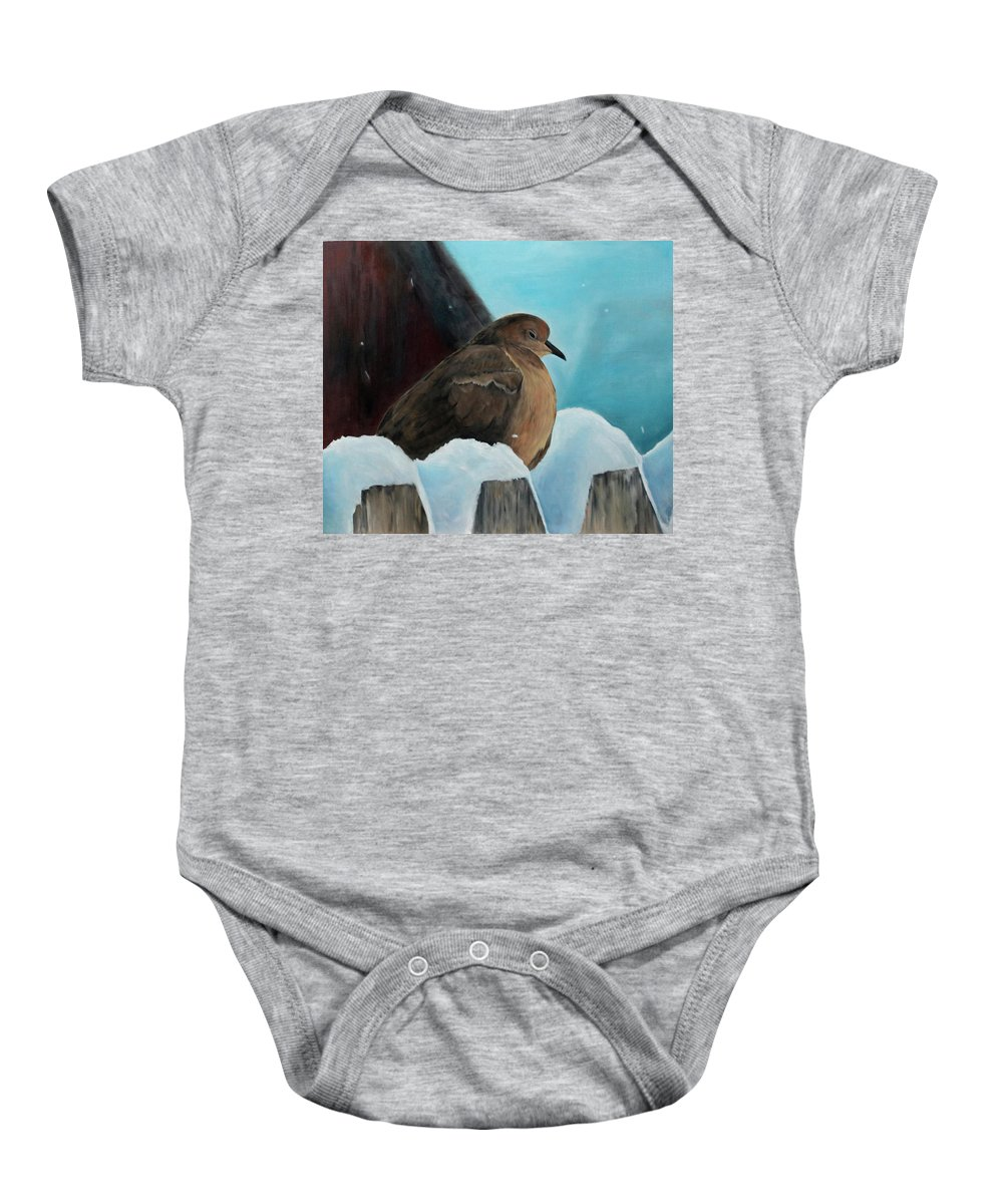 Dove Baby Onesie featuring the painting Of Winters Past by Becky Brooks