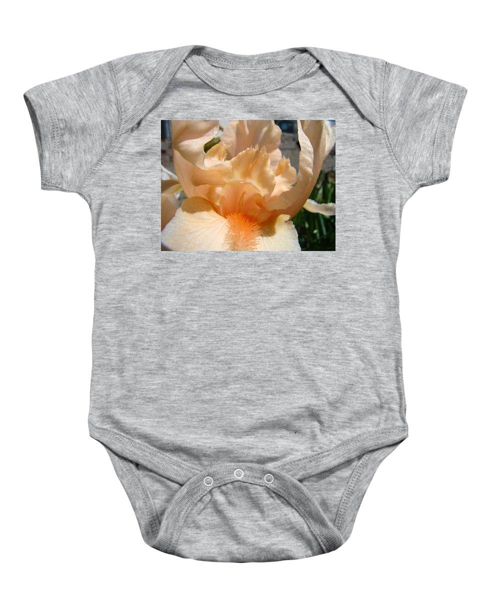 �irises Artwork� Baby Onesie featuring the photograph Office Art Irises Flower Orange Iris Flower Giclee Art Prints Baslee Troutman by Baslee Troutman