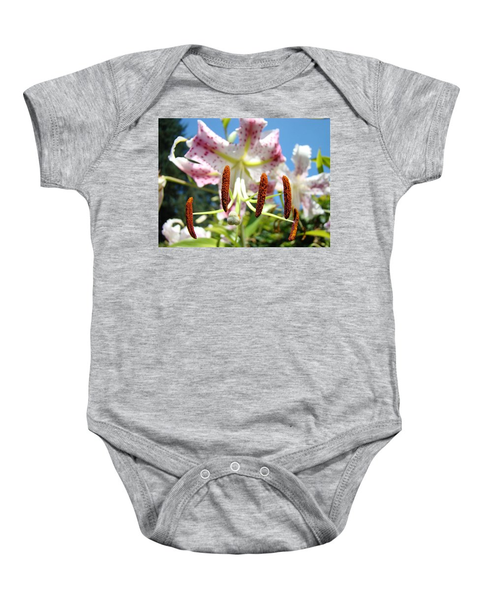 Lilies Baby Onesie featuring the photograph Office Art Prints Pink White Lily Flowers Botanical Giclee Baslee Troutman by Baslee Troutman