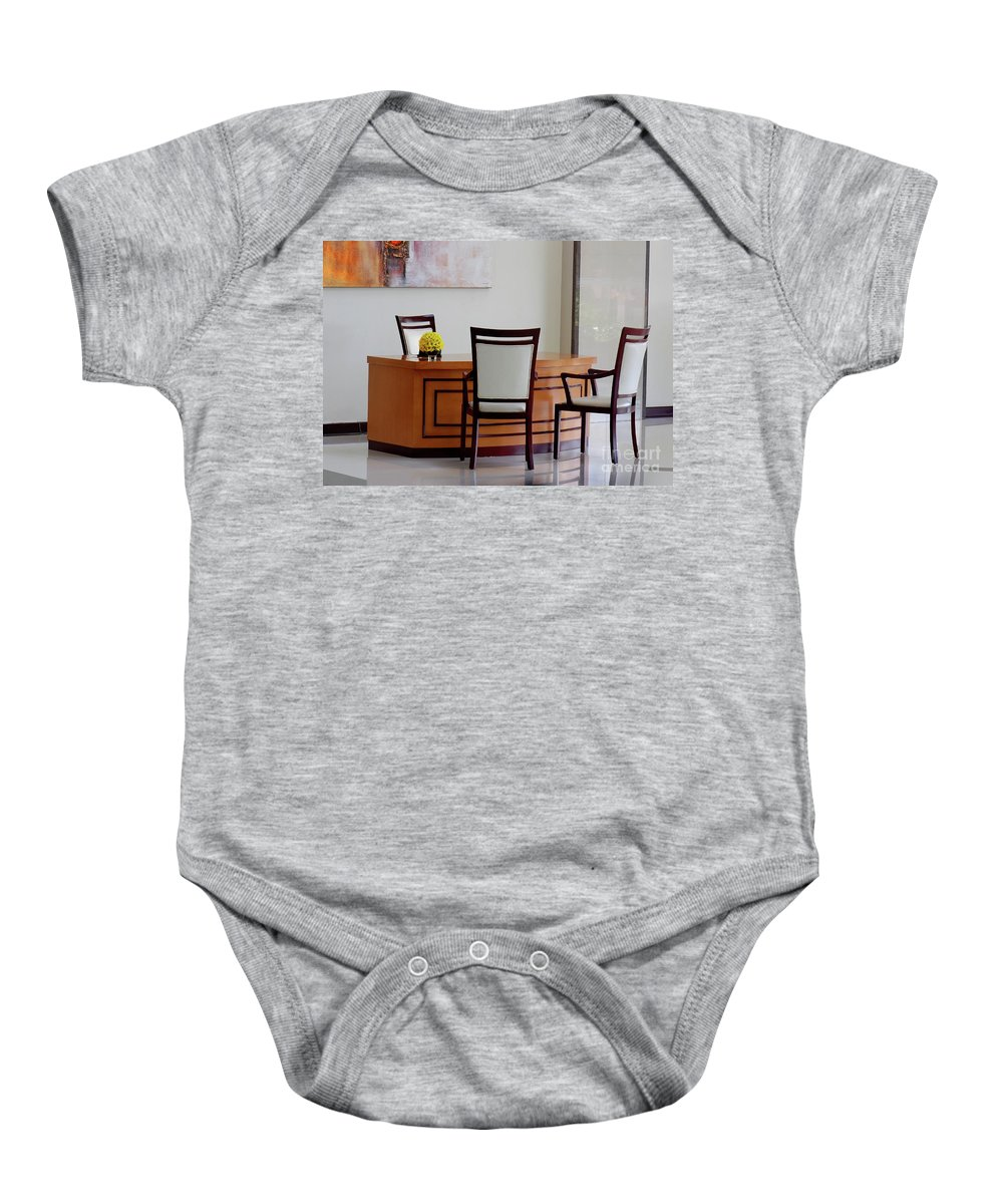 Office Baby Onesie featuring the photograph Office Set Up by Charuhas Images
