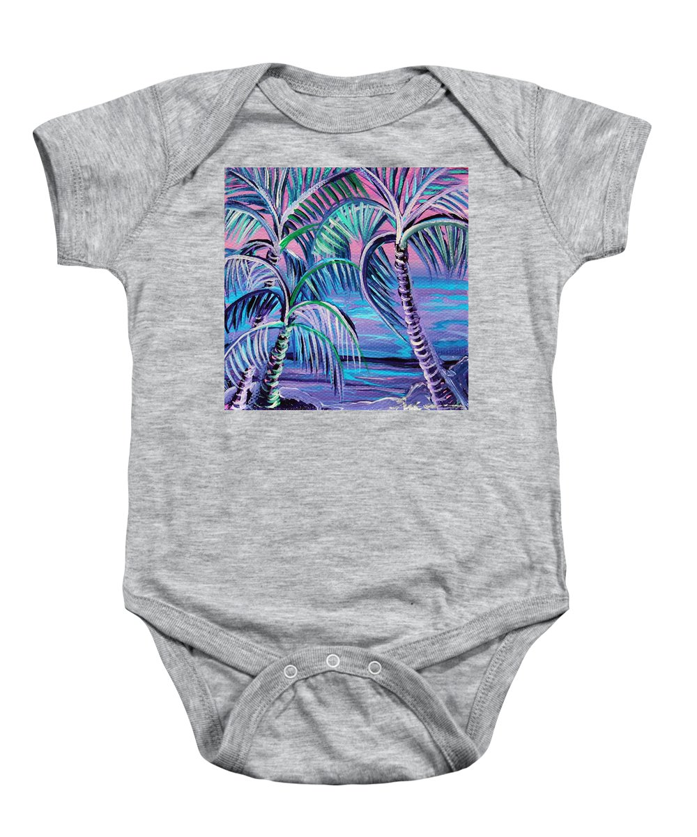 Three Palms Baby Onesie featuring the painting Ohana by Suzanne MacAdam