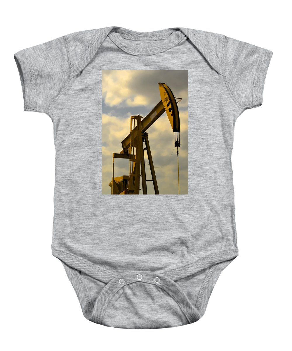 Oil Baby Onesie featuring the photograph Oil Pumpjack II by Ricky Barnard