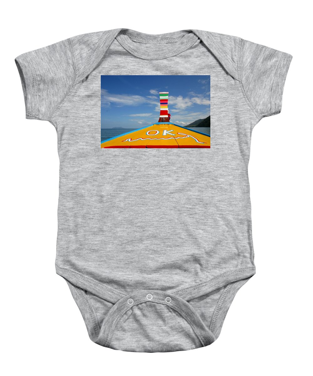 Baby Onesie featuring the photograph Okay In Thailand by Minaz Jantz