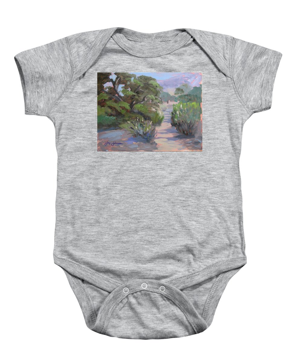 Landscape Baby Onesie featuring the painting Old Agoura by Jay Johnson