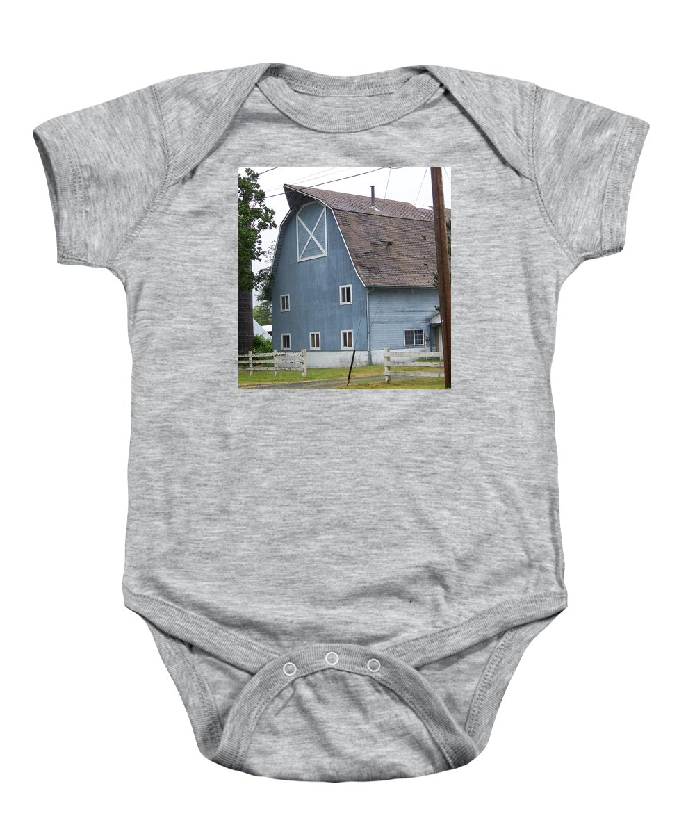 Old Baby Onesie featuring the photograph Old Blue Barn Littlerock Washington by Laurie Kidd