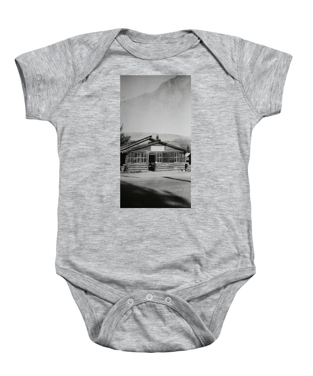 Black And White Photograph Classic Old Cafe Banff Alberta 1950s Diner Log Cabin Baby Onesie featuring the photograph Old Cafe by Andrea Lawrence