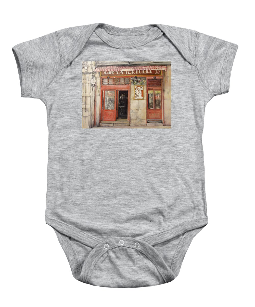 Cafe Baby Onesie featuring the painting Old Cafe- Santander Spain by Tomas Castano