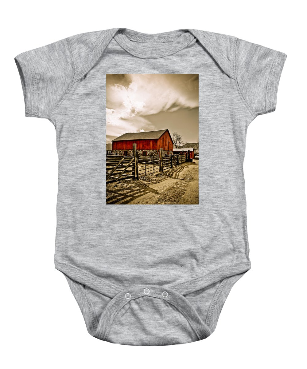 Americana Baby Onesie featuring the photograph Old Country Farm by Marilyn Hunt