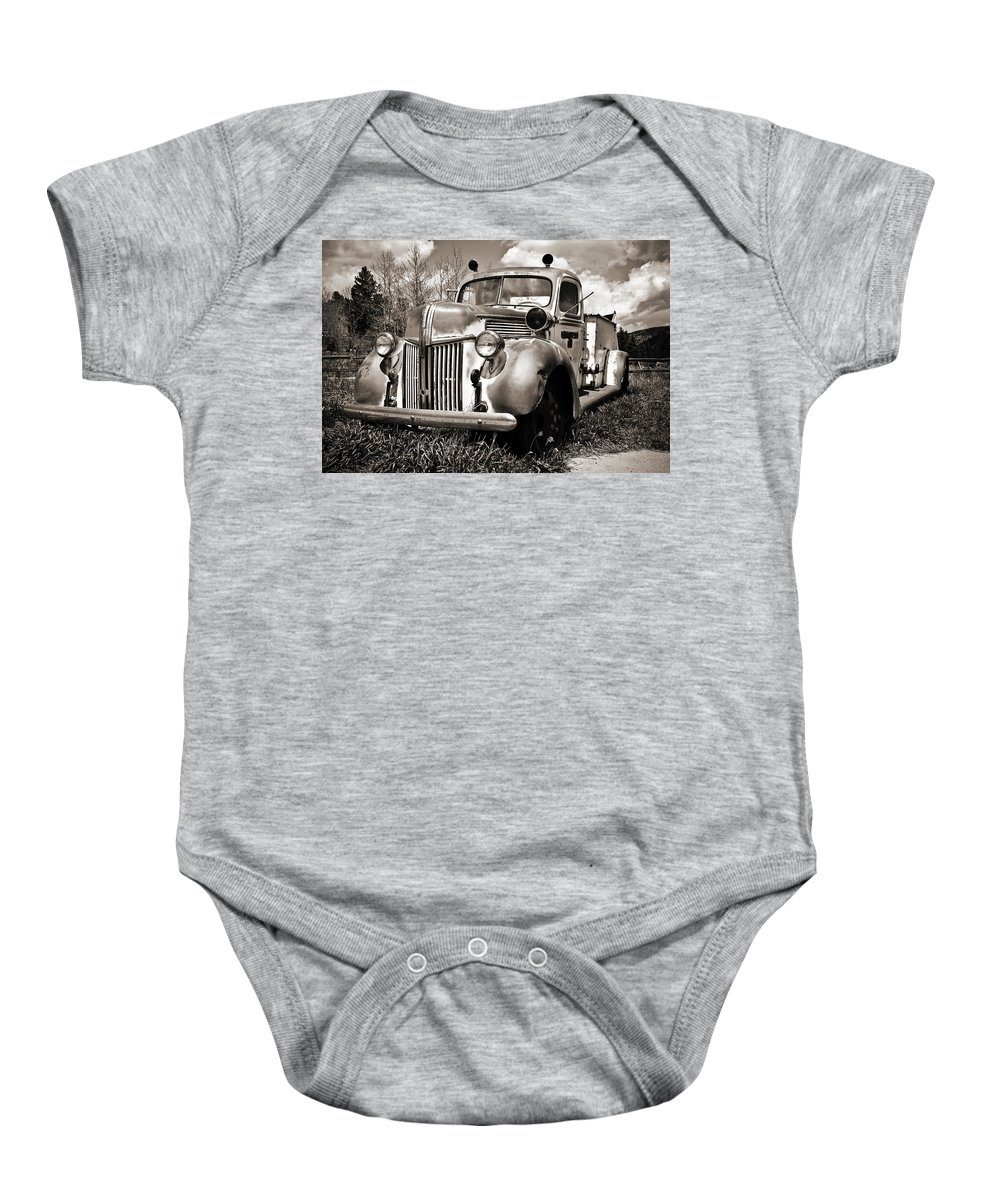 Americana Baby Onesie featuring the photograph Old Firetruck by Marilyn Hunt