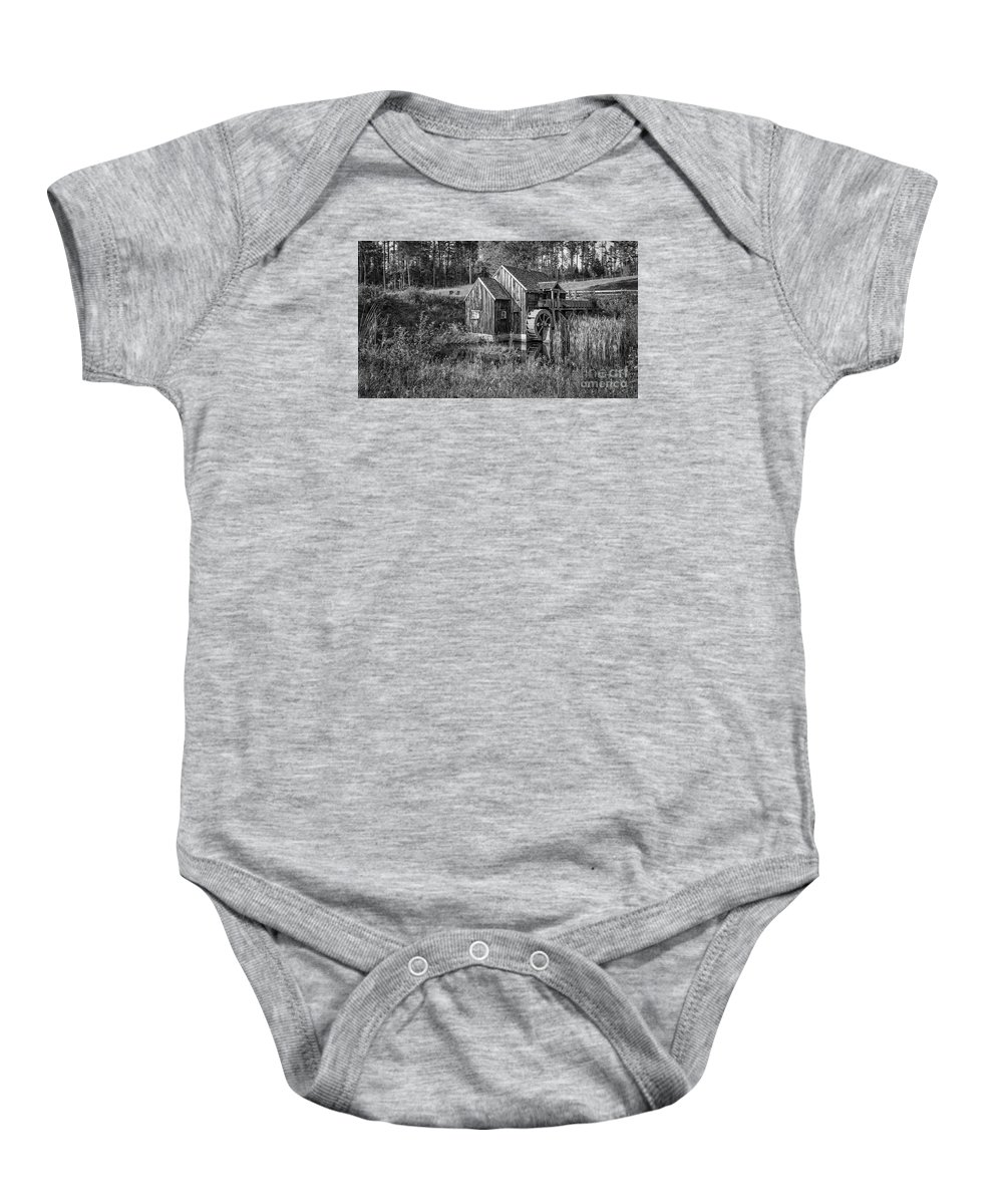 Vermont Baby Onesie featuring the photograph Old Grist Mill In Vermont Black And White by Edward Fielding