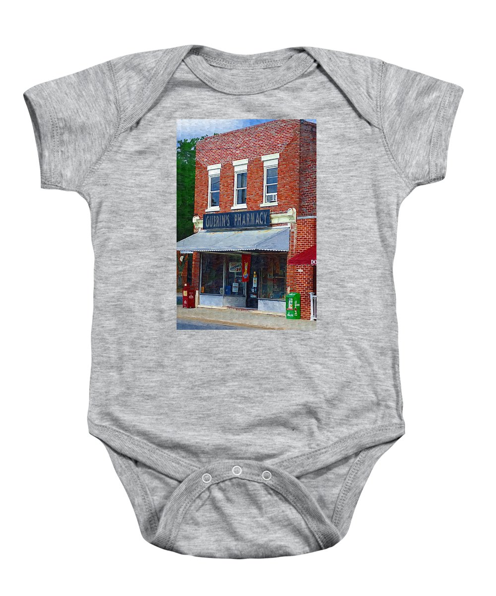 Old Buildings Baby Onesie featuring the photograph Old Guerins Pharmacy by Donna Bentley