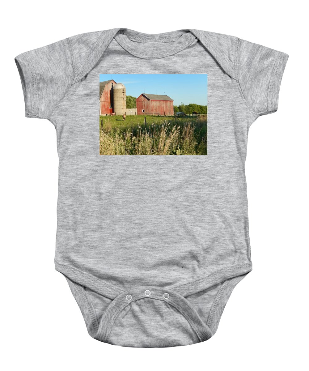 Horses Baby Onesie featuring the photograph Old Horse Farm by Susan Wyman