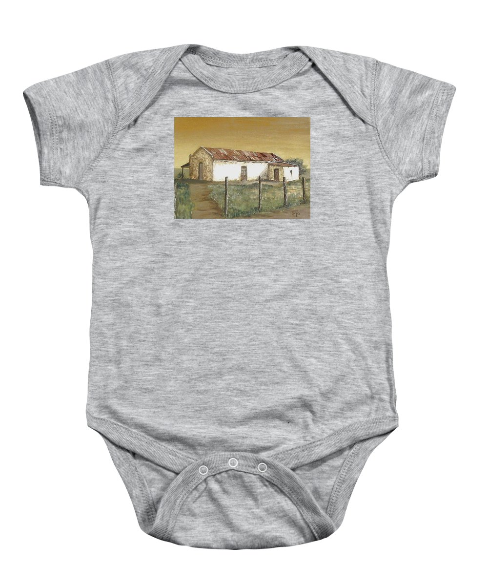 Old House Landscape Country Baby Onesie featuring the painting Old House by Natalia Tejera