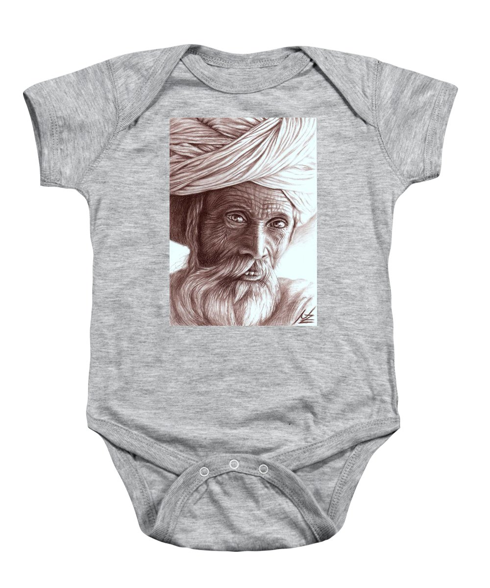 Man Baby Onesie featuring the drawing Old Indian Man by Nicole Zeug