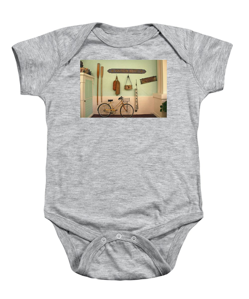 Bike Baby Onesie featuring the photograph Old Key West Room by Denise Mazzocco