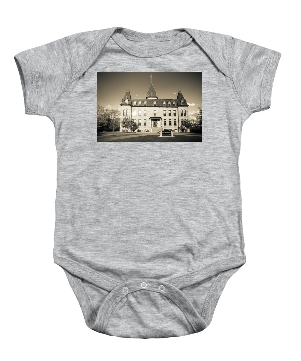 Minnesota Baby Onesie featuring the photograph Old Main Sepia by Joe Miller