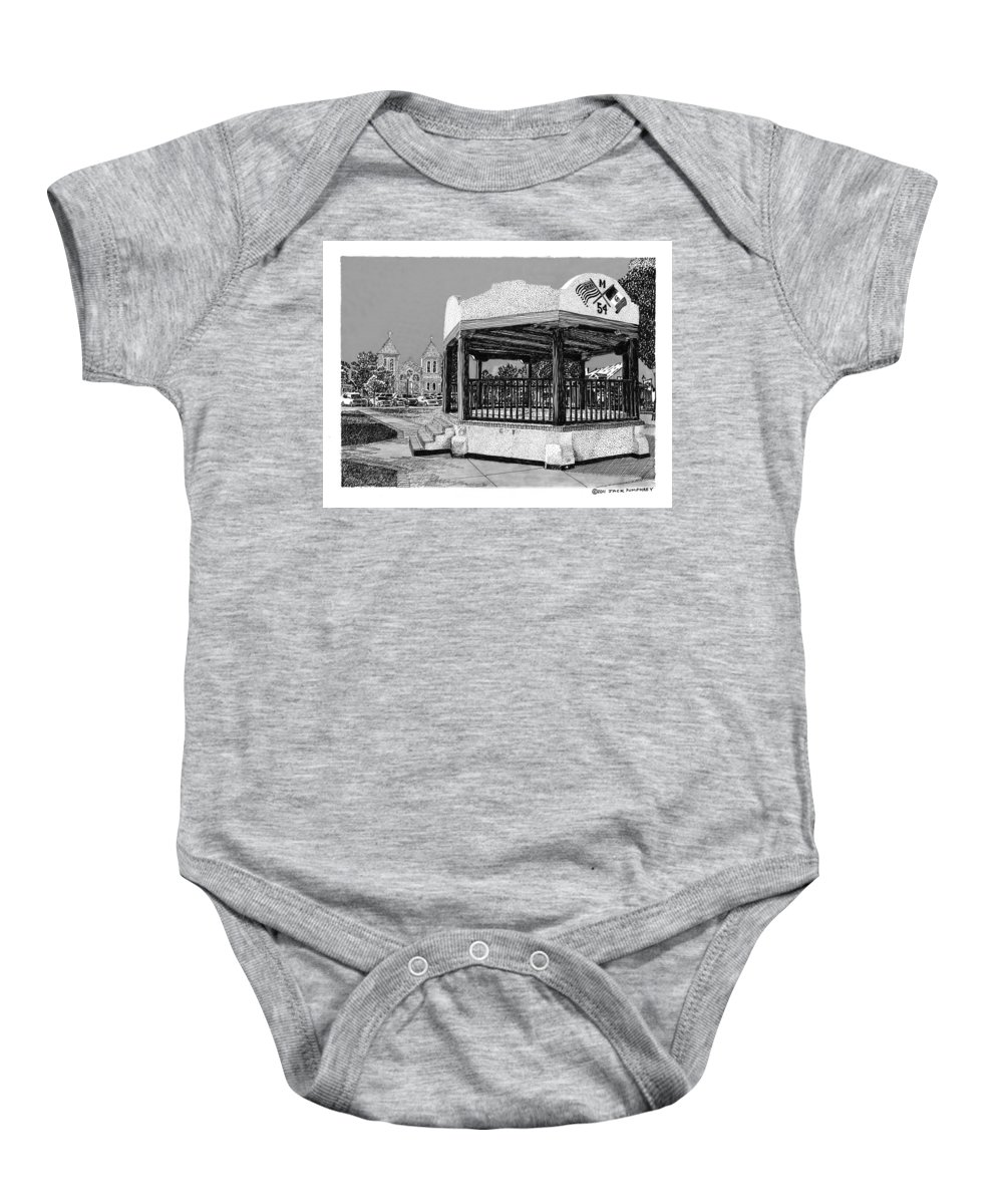 Town Meeting Baby Onesie featuring the drawing Old Mesilla Gazebo by Jack Pumphrey