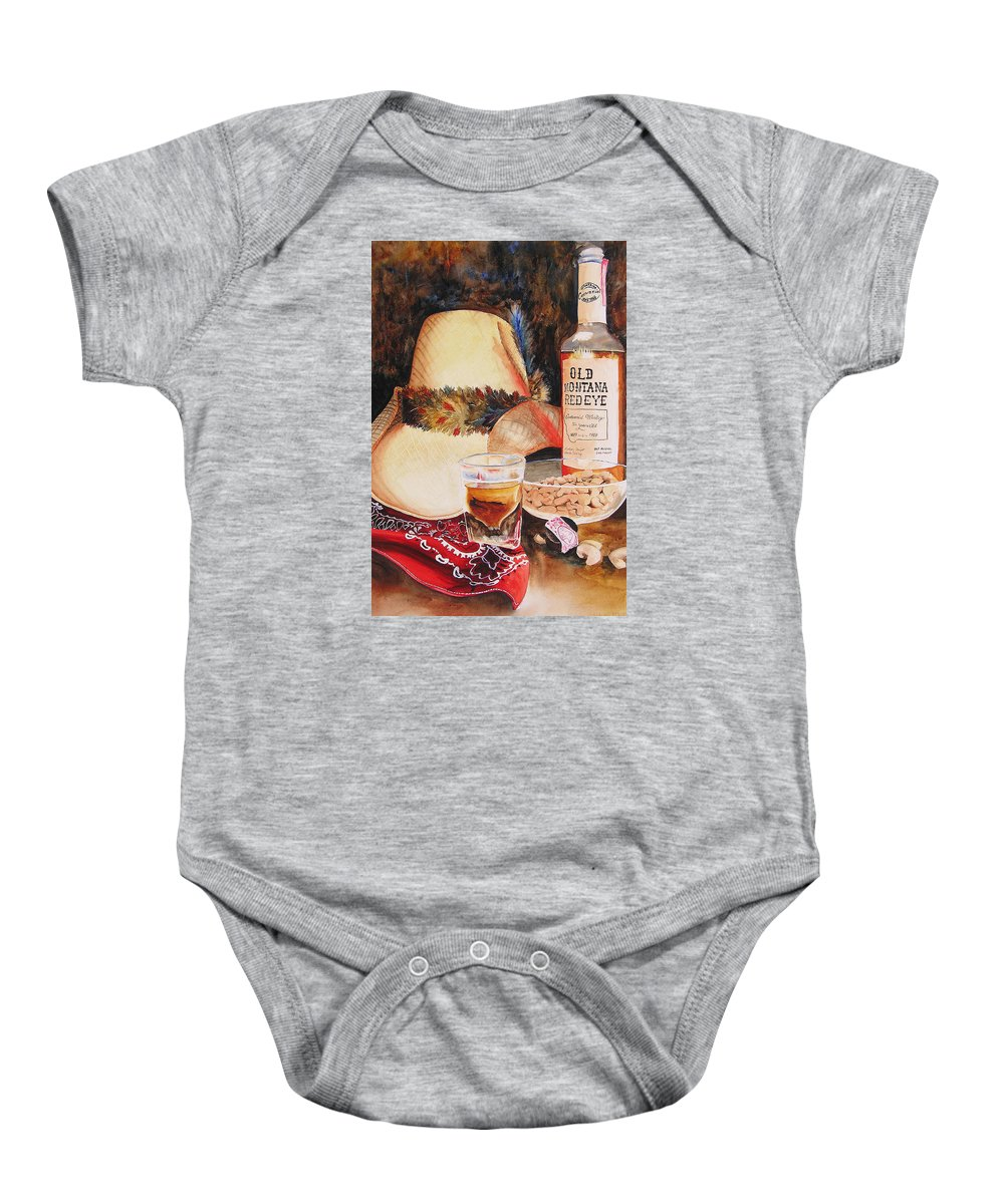 Whiskey Baby Onesie featuring the painting Old Montana Red Eye by Karen Stark