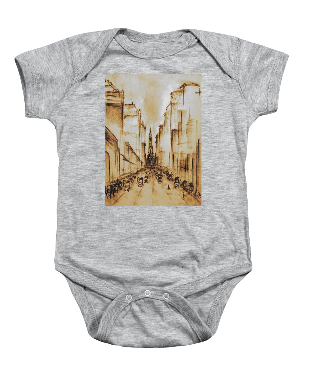 Philadelphia Baby Onesie featuring the drawing Old Philadelphia City Hall 1920 by Peter Potter
