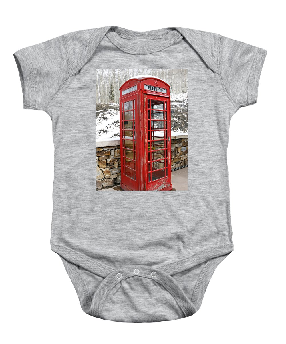 Communication Baby Onesie featuring the photograph Old Phone Booth by Marilyn Hunt