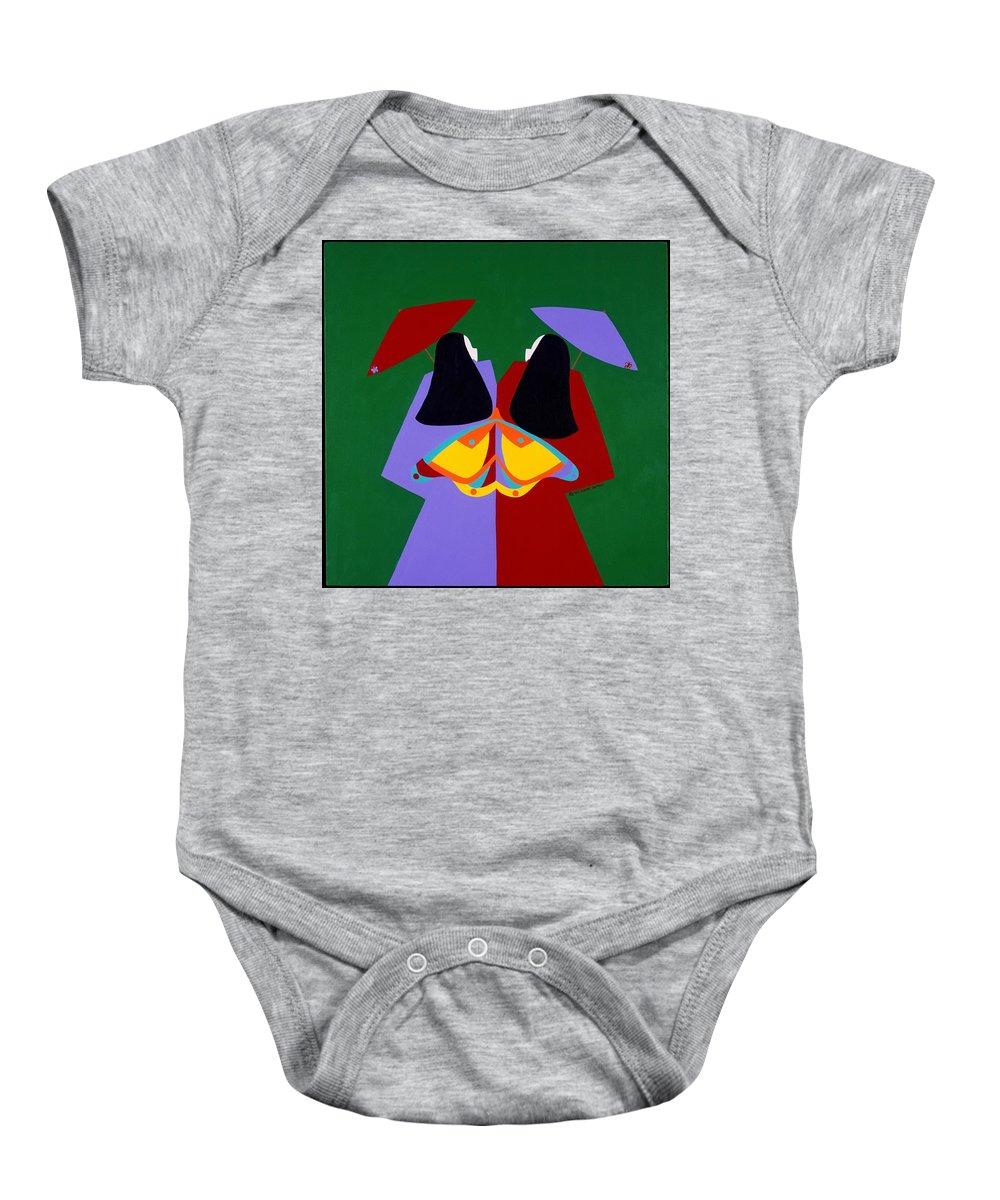 Asian Baby Onesie featuring the painting Old Same by Synthia SAINT JAMES