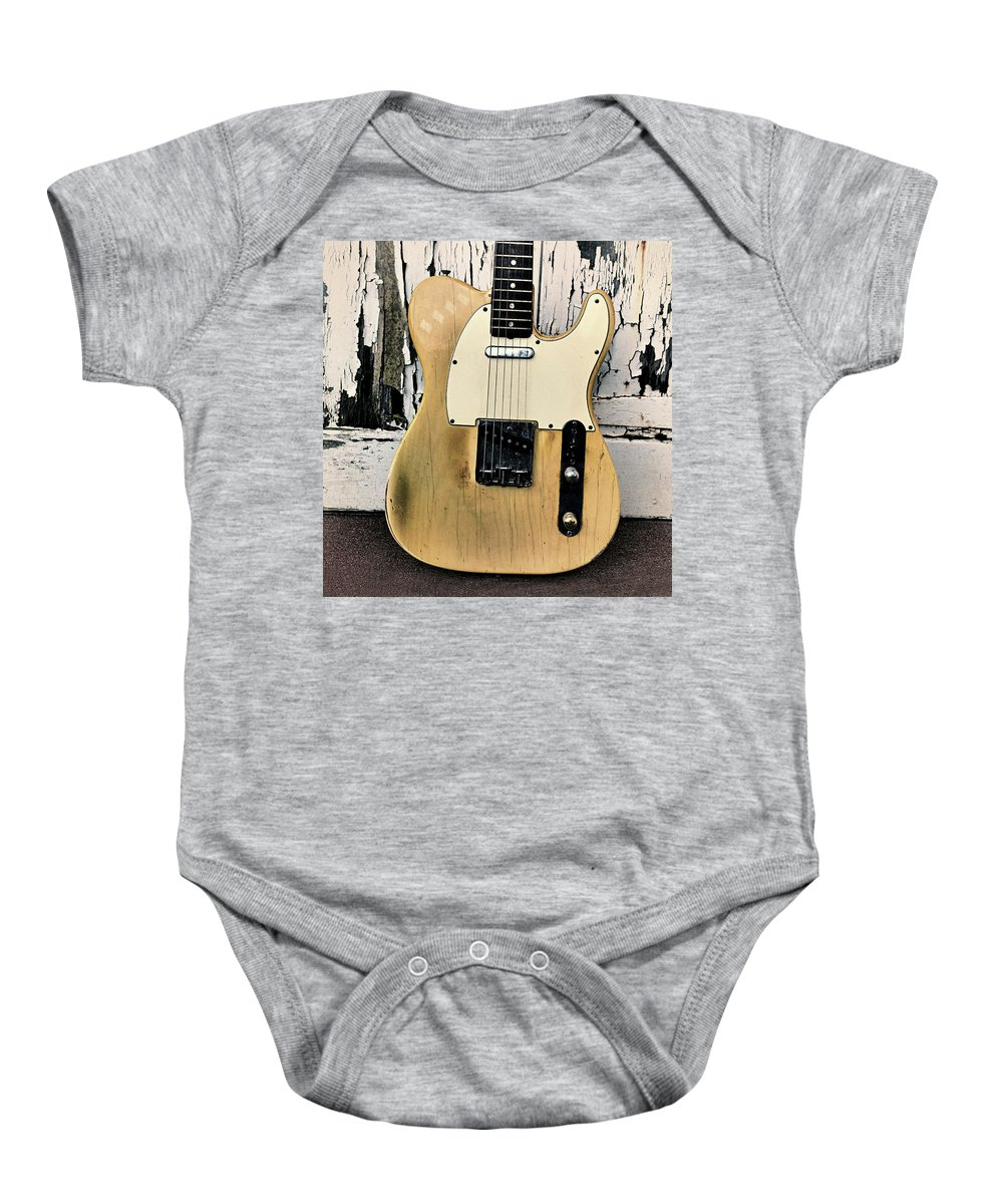 Fender Telecaster Baby Onesie featuring the digital art Old Tele by Habile Photography