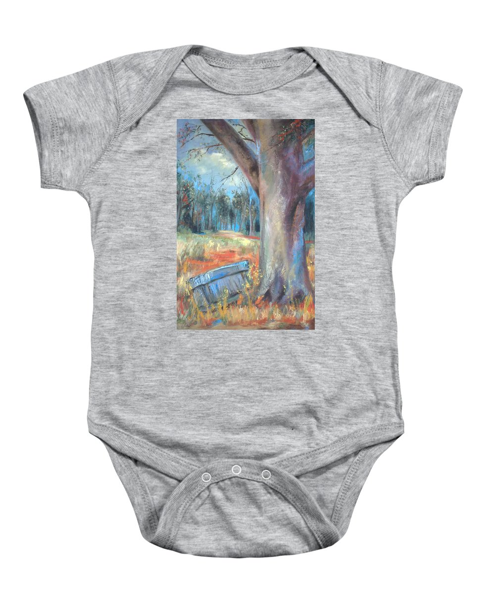 Country Scenes Baby Onesie featuring the painting Old Times by Ginger Concepcion