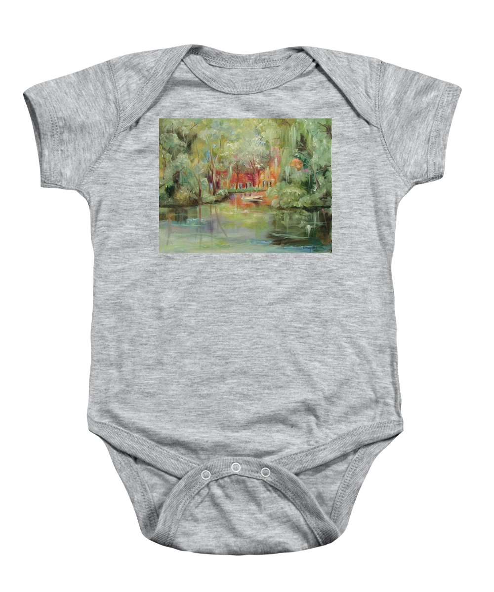 Bayou Baby Onesie featuring the painting On A Bayou by Ginger Concepcion