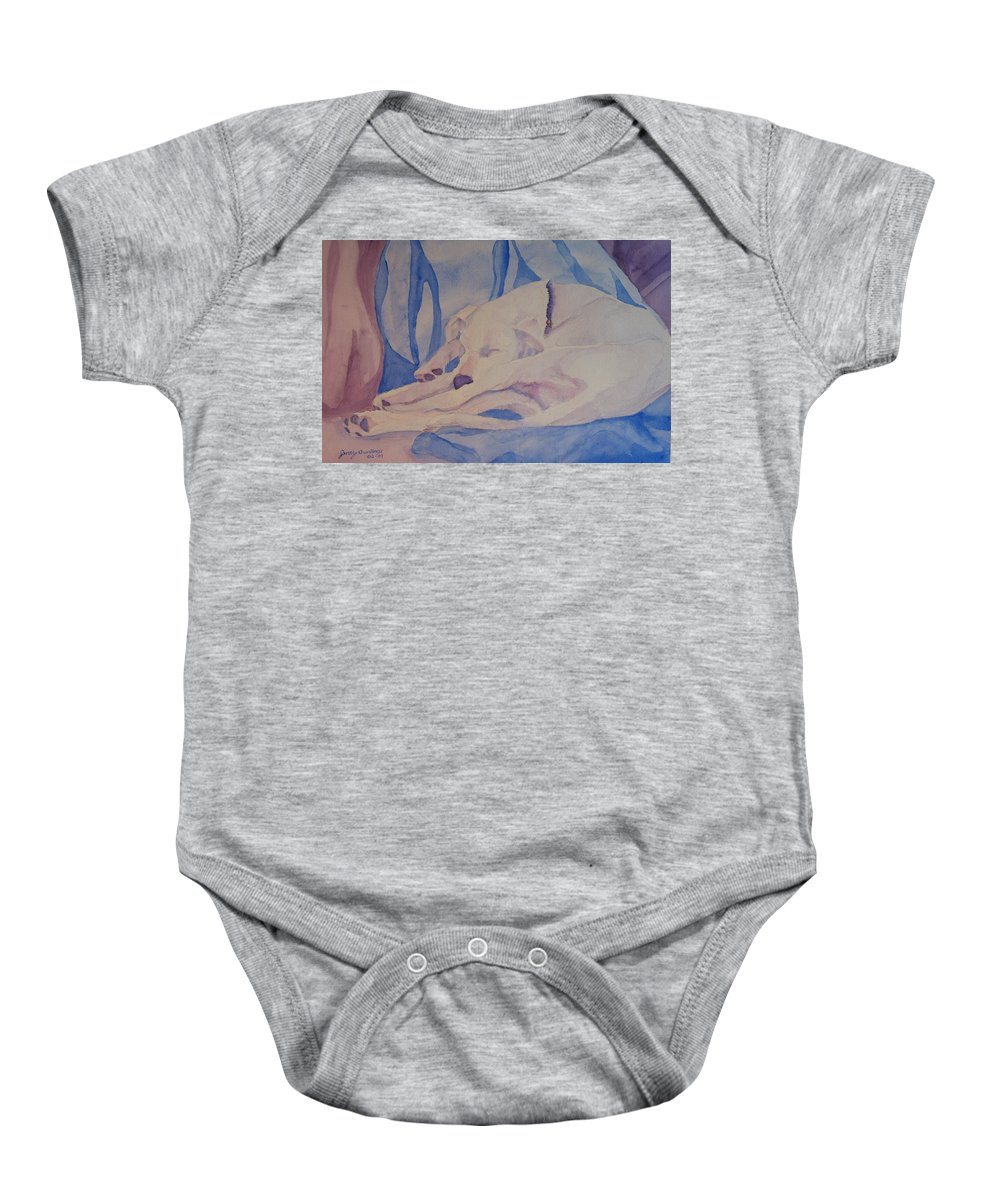 Dog Baby Onesie featuring the painting On Fallen Blankets by Jenny Armitage