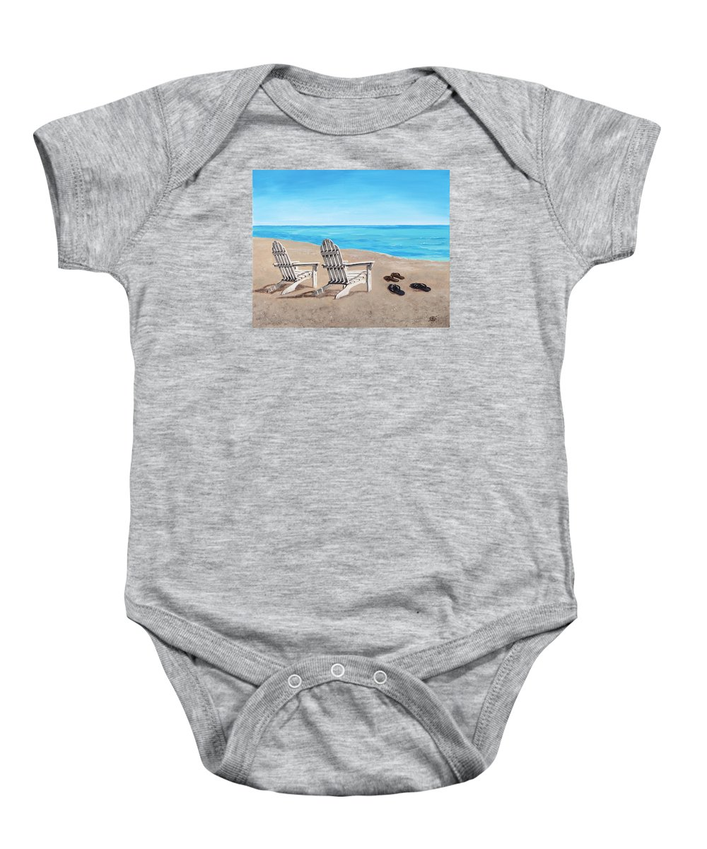 Chair Baby Onesie featuring the painting On The Shore by Masha Batkova