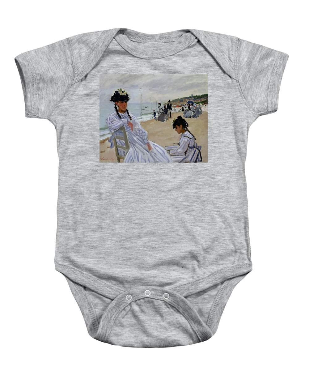 Normandy;seaside;holiday;vacation;resort;young Girls;girl;coast;coastal;leisure;impressionist; Impressionism Baby Onesie featuring the painting On The Beach At Trouville by Claude Monet
