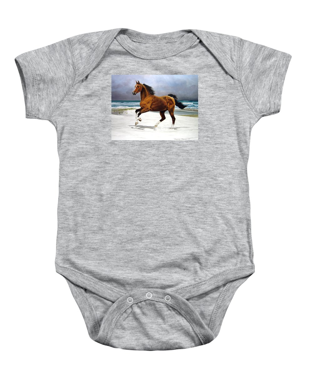 Horse Baby Onesie featuring the painting On The Beach by Marc Stewart