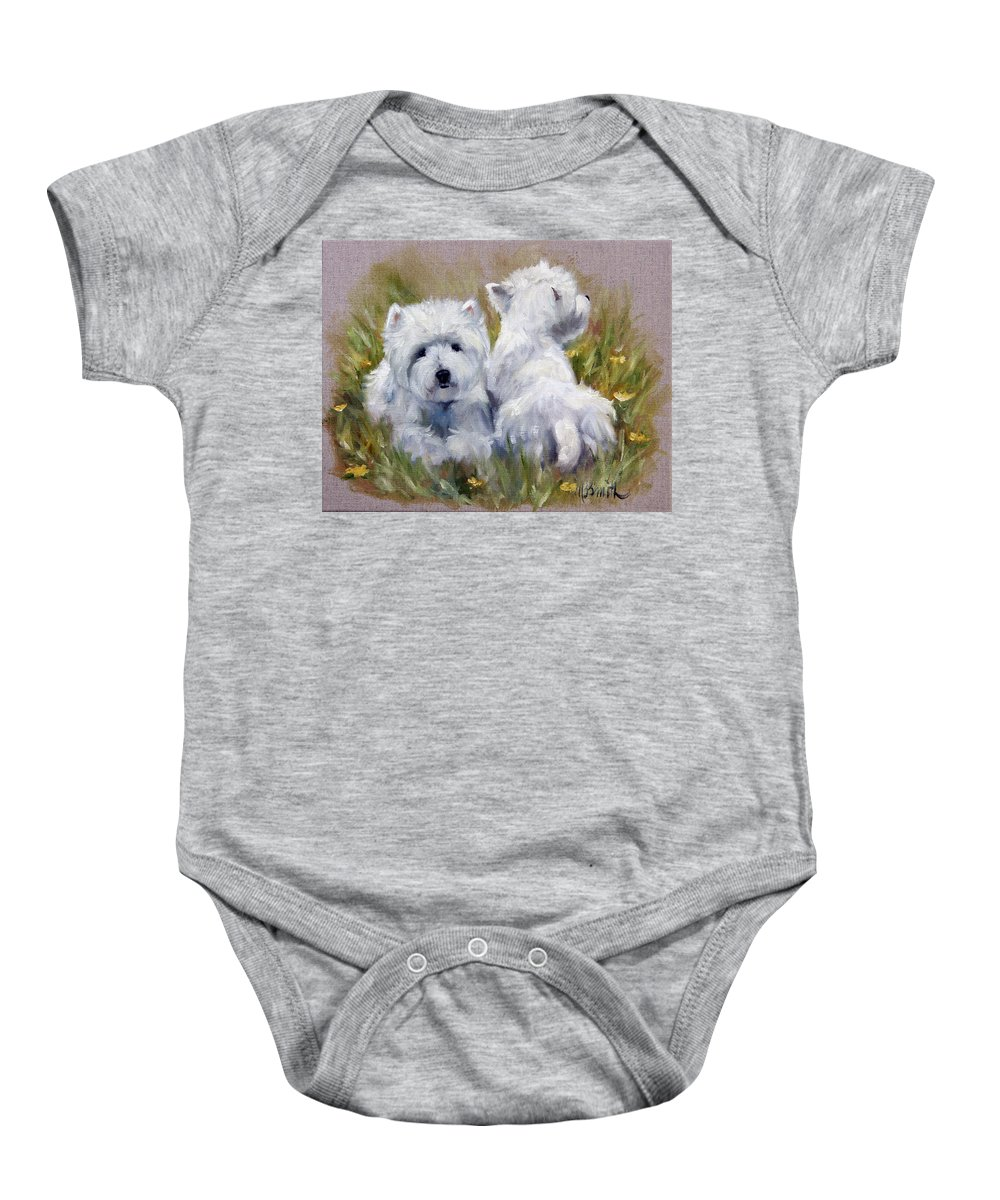 Art Baby Onesie featuring the painting On The Lawn by Mary Sparrow
