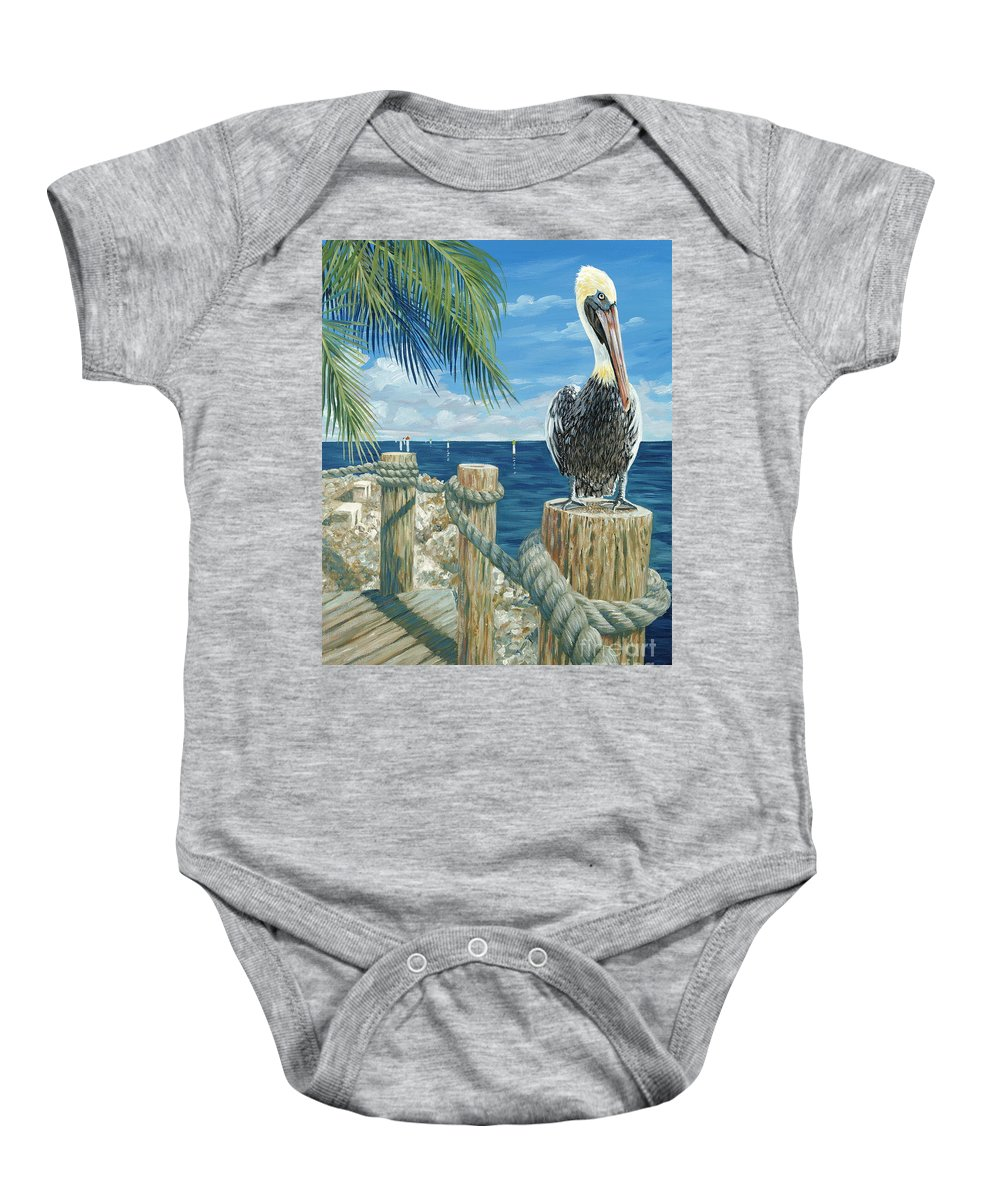 Key Largo Baby Onesie featuring the painting On The Lookout by Danielle Perry