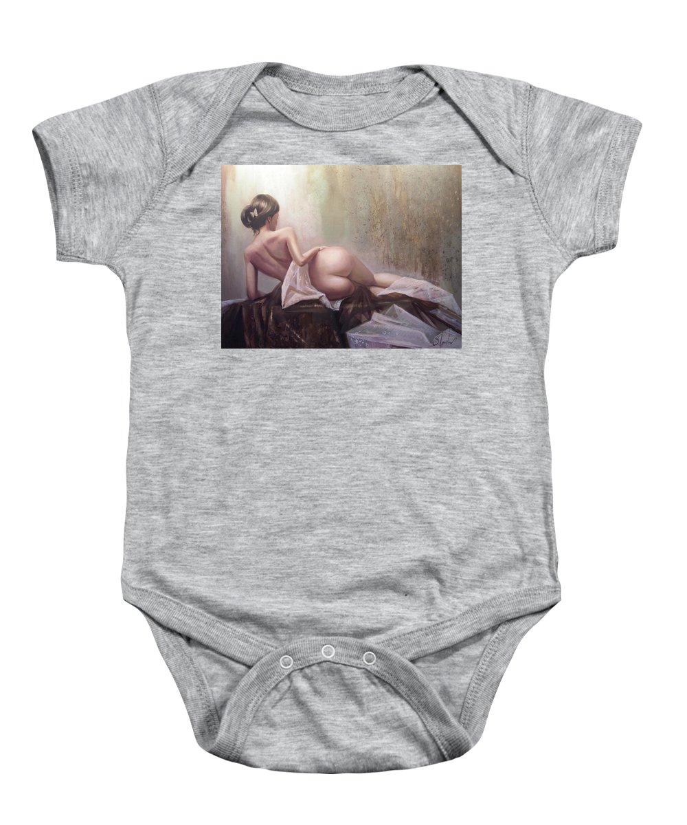 Art Baby Onesie featuring the painting On the podium by Sergey Ignatenko