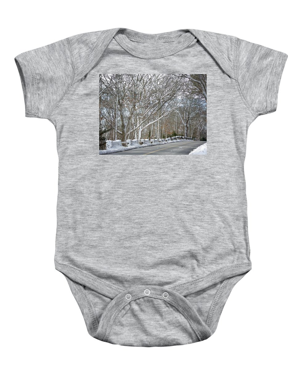 Winter Baby Onesie featuring the photograph On The Road To Woods Hole by Mother Nature