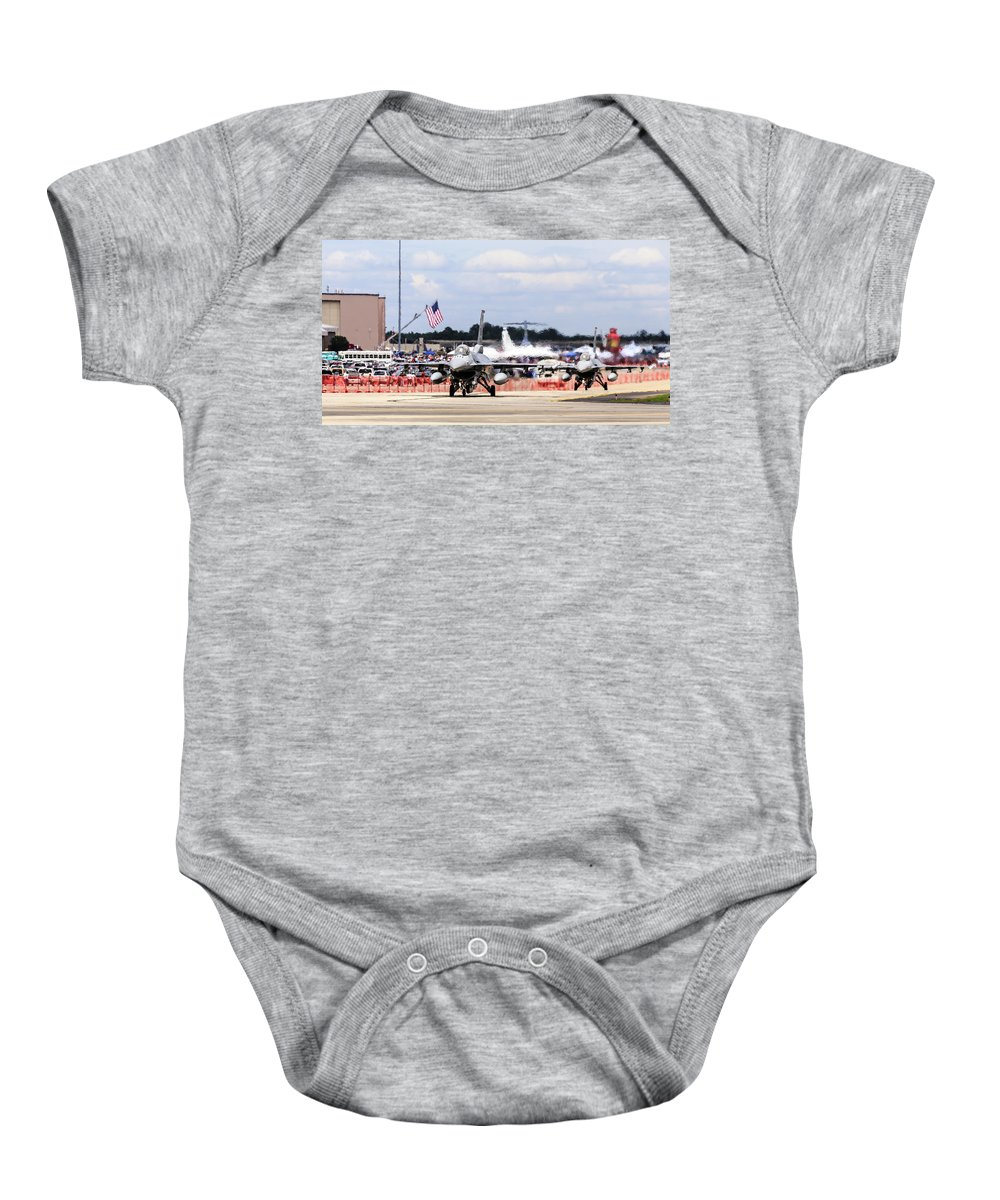 Airshow Baby Onesie featuring the photograph On The Taxiway by Charles Hite